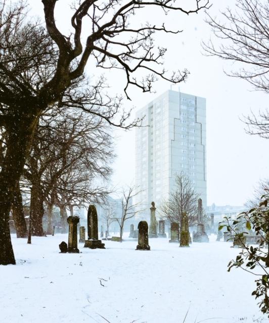 Kirkgate House and South Leith Parish Church in snow.JPG