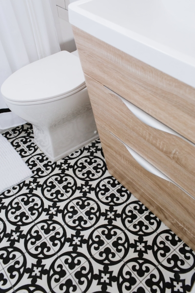 LiLi Cement Tile from Architectural Ceramics Contrasts with Fresca Milano Vanity (from Wayfair)