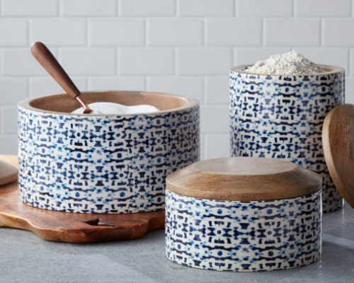Enamel Coated Mango Wood Canisters (VivaTerra) - $99   Decorative and functional for the kitchen, but also consider using in the bathroom, home office or as decorative pieces on a bookshelf.
