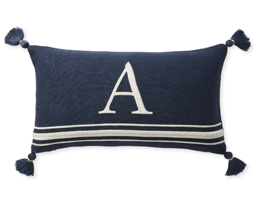 Embroidered Letter Pillow Cover (Serena & Lily) - $88   This pillow cover adds a tasteful touch of personalization to a living room sofa, master bedroom or even a nursery. (Note: Pillow insert sold separately.)