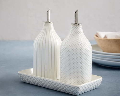 Textured Oil + Vinegar Set (West Elm) - $39   For the foodie or home chef, this set adds some fun to the countertop. Sadly, they won't ship until next year but they were too cute not to feature. Consider  these as an alternative !