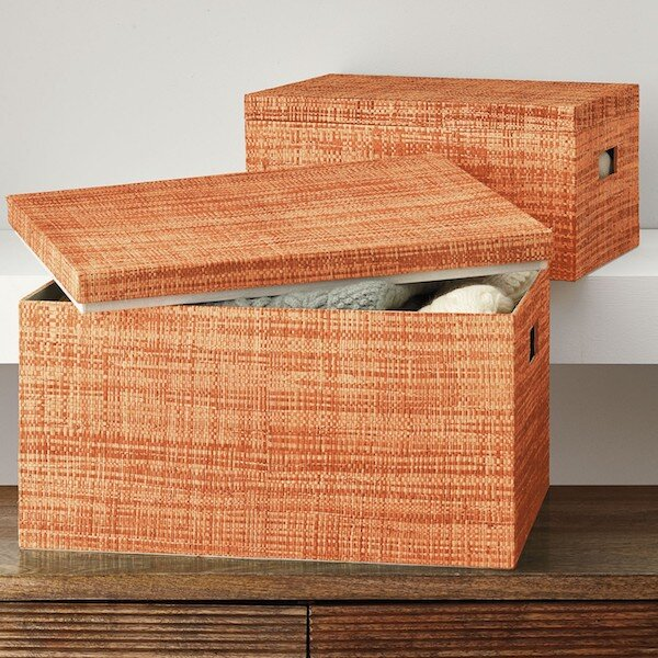Ombré Sweater Box Set (The Company Store) — $82.99   Spice up your storage at home with this set of raffia boxes. Use them with or without lids by your front door to store scarves and gloves or to neatly keep a throw or magazines and books by your sofa.