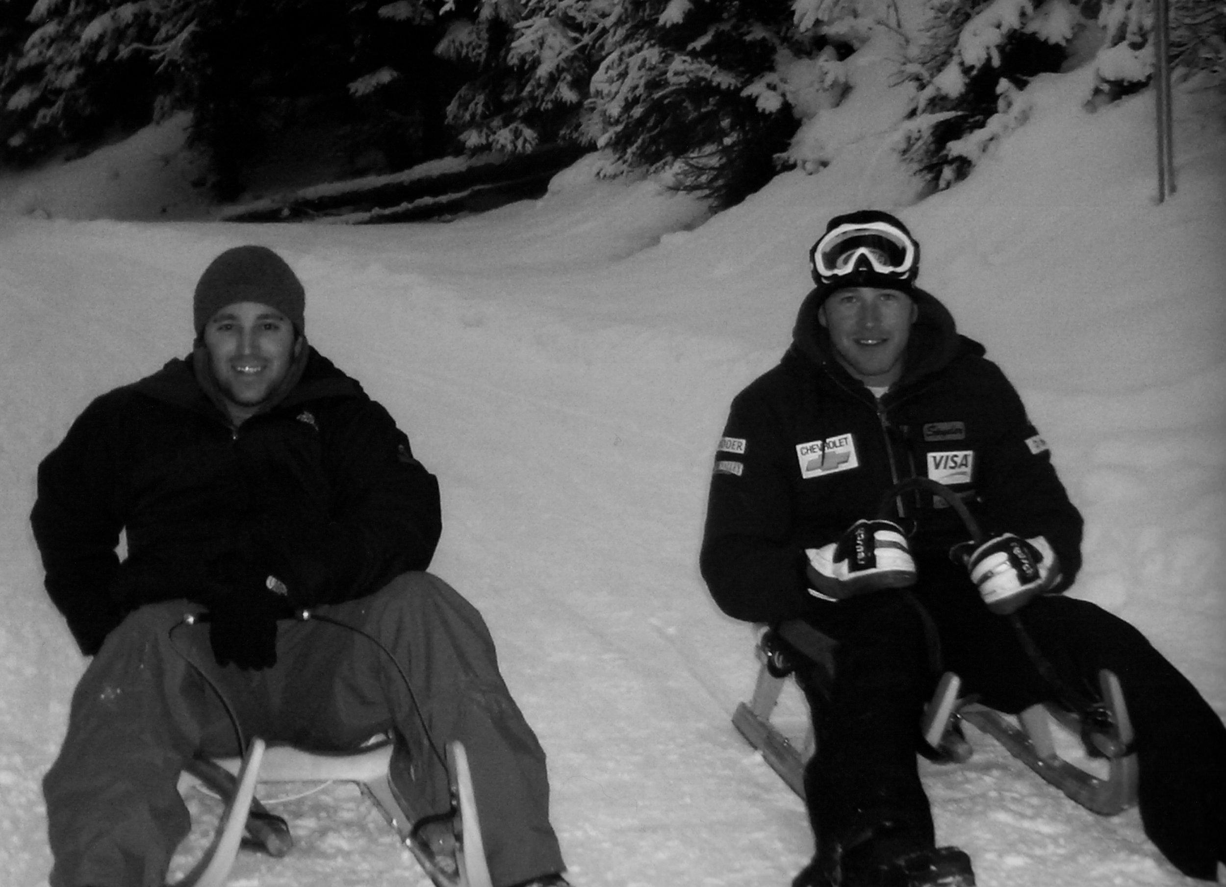 Founder/CEO Brett Rapkin and US Ski Racing Legend Bode Miller  Austrian Alps, 2004