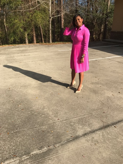 Dress:  Banana Republic  Pink sold out Gray  here  Shoes:  Guess  Beige (sold out) Pink  here