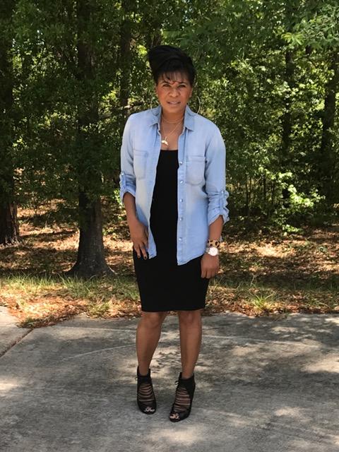 Jean Shirt (old):  Francesca's Tank Dress (similiar):  Forever 21          Heels (old): ALDO