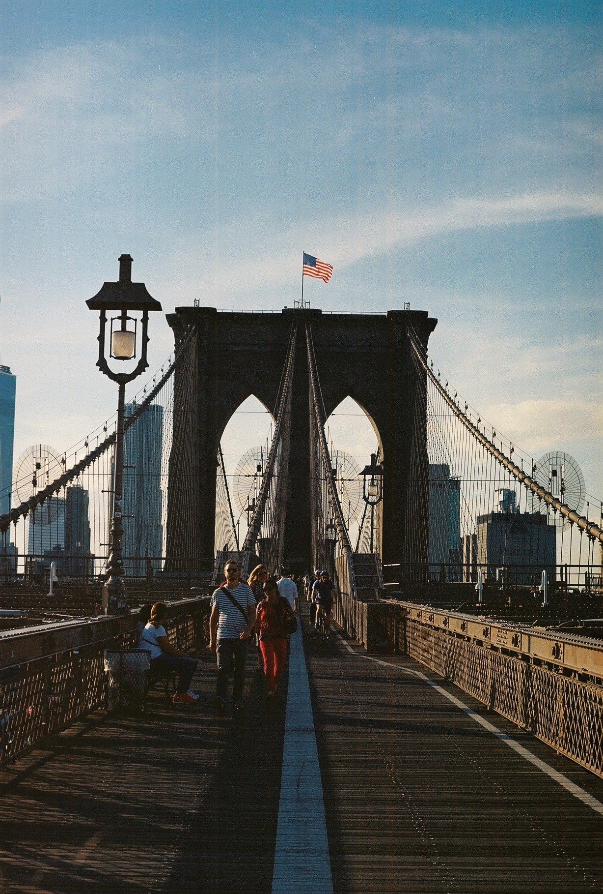 The Brooklyn Bridge at sunset
