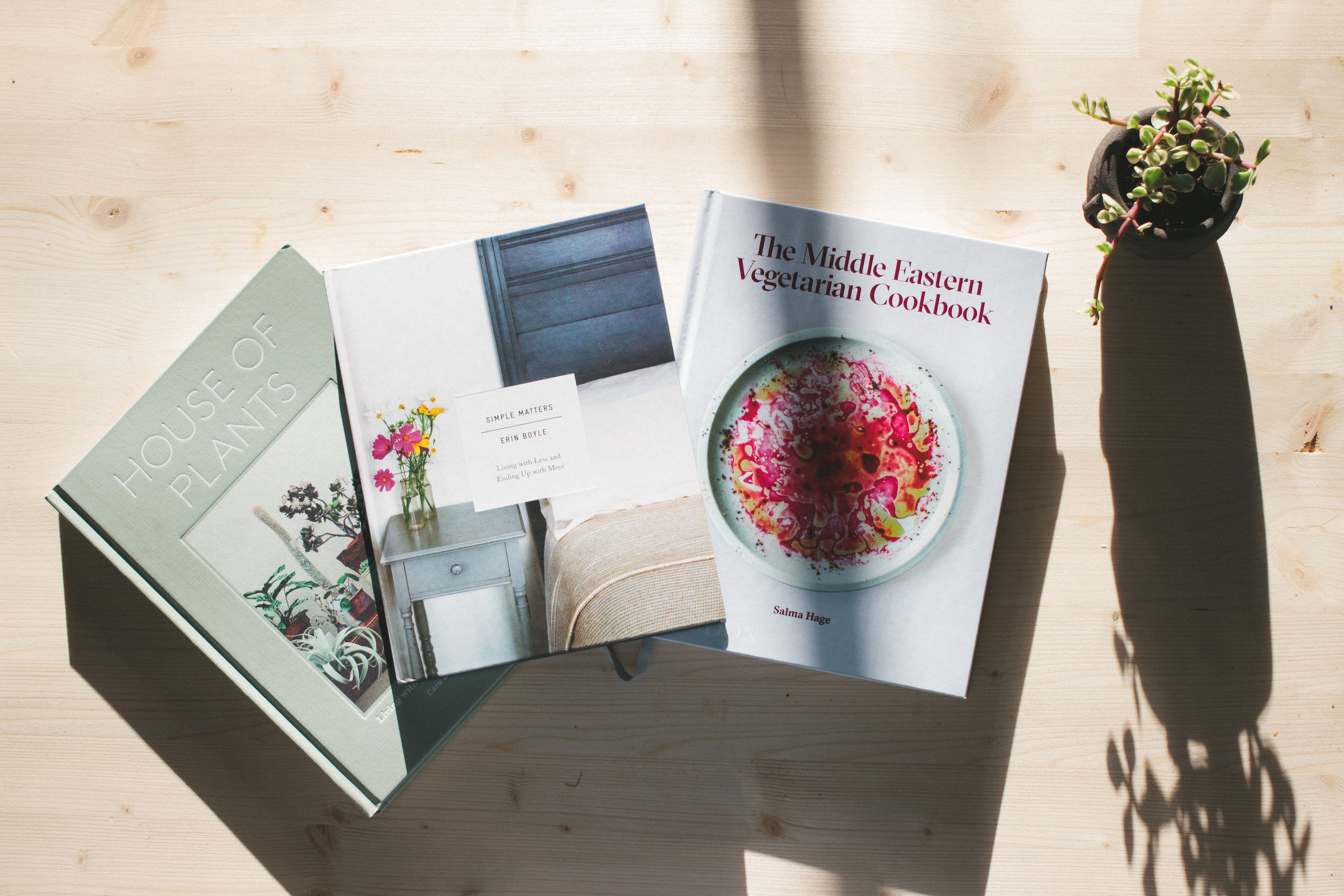 Left to Right: House of Plants, Simple Matters, The Middle Easter Vegetarian Cookbook, Alice Frost planter