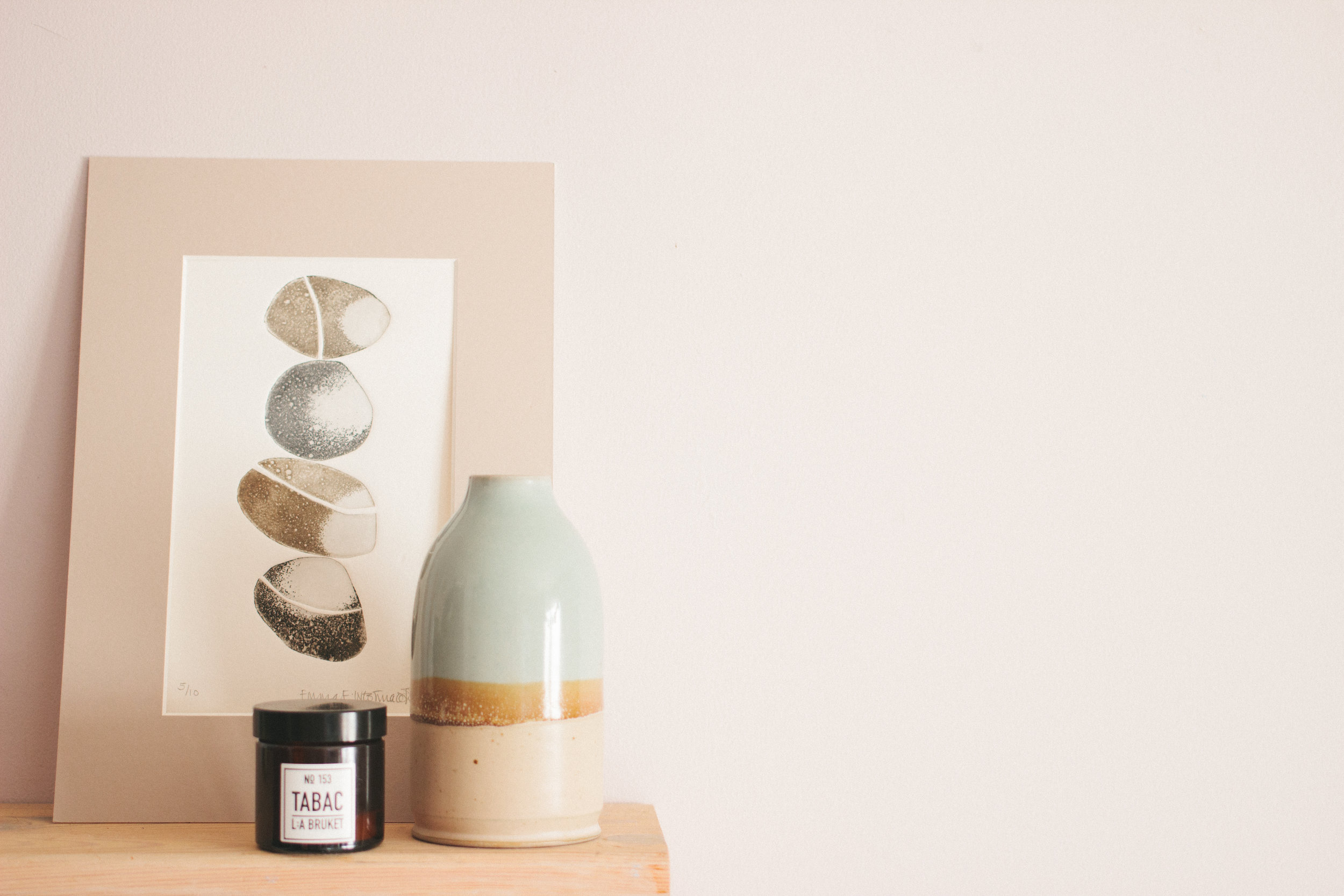 Left to right:  Emma Westmacott pebbles etching, L:A Bruket candle, We Make Pots vase