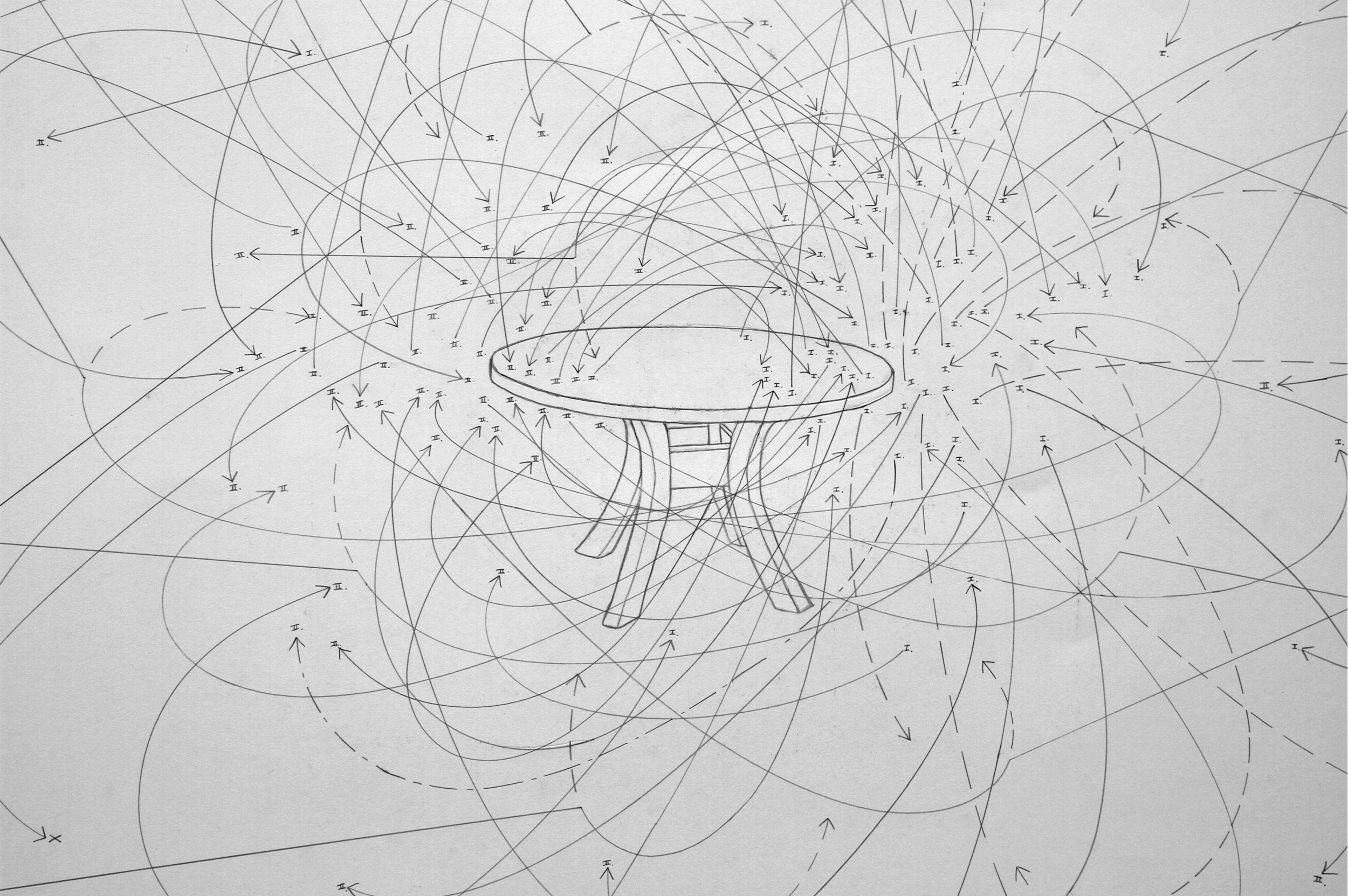Dinner Conversation: 2 subjects, salmon sashimi, mushroom miso udon, seasoned seaweed salad, sushi rice, white wine. 03/18/12, 9:13PM, 19:42 minutes, Los Angeles, CA.   (detail) 2012 graphite on paper 30x40 inches