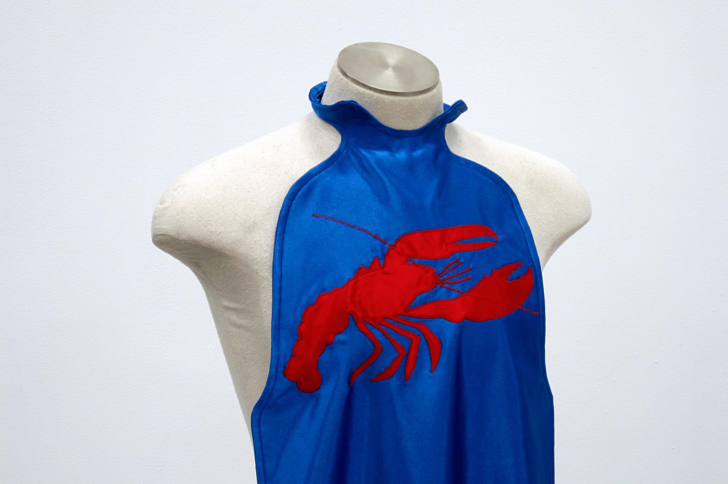 Lobster Bib (Blue)  2011 Handmade satin lobster bib dimensions variable