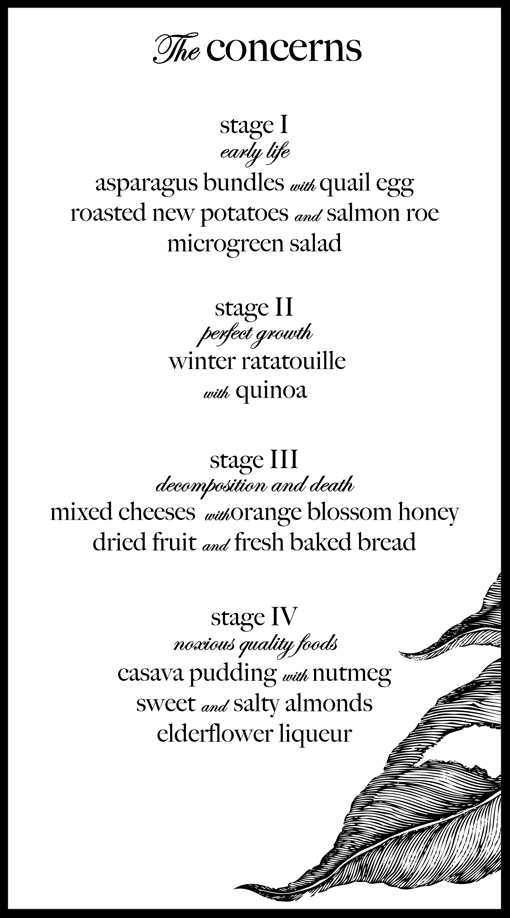 Various Concerns of Gastronomy  Dinner performance menu (back) Concord, Los Angeles, CA. December 14th, 2011