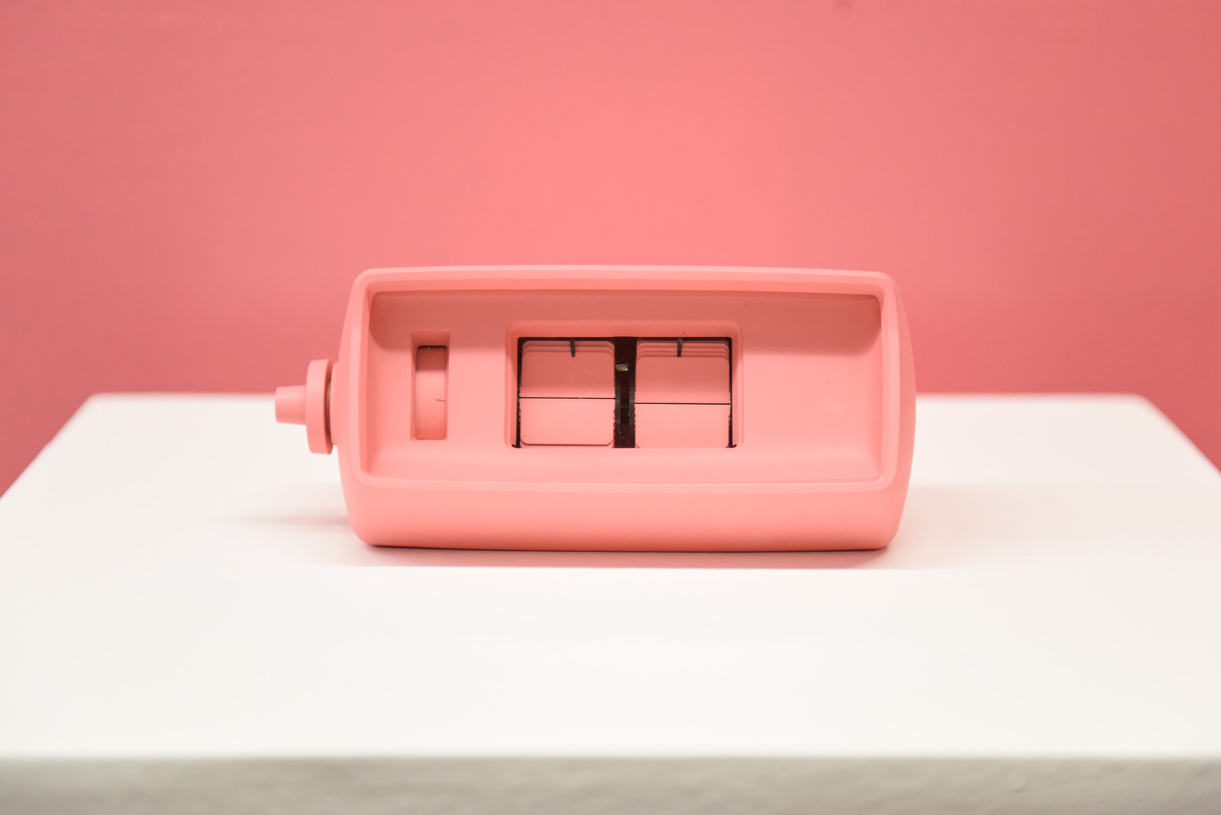 It's Schauss Time   2013   Vintage flip clock, Baker-Miller Pink paint   7x3.5x3.5 inches   Human Condition Exhibition curated by John Wolf, Los Angeles, CA. 10/01/16