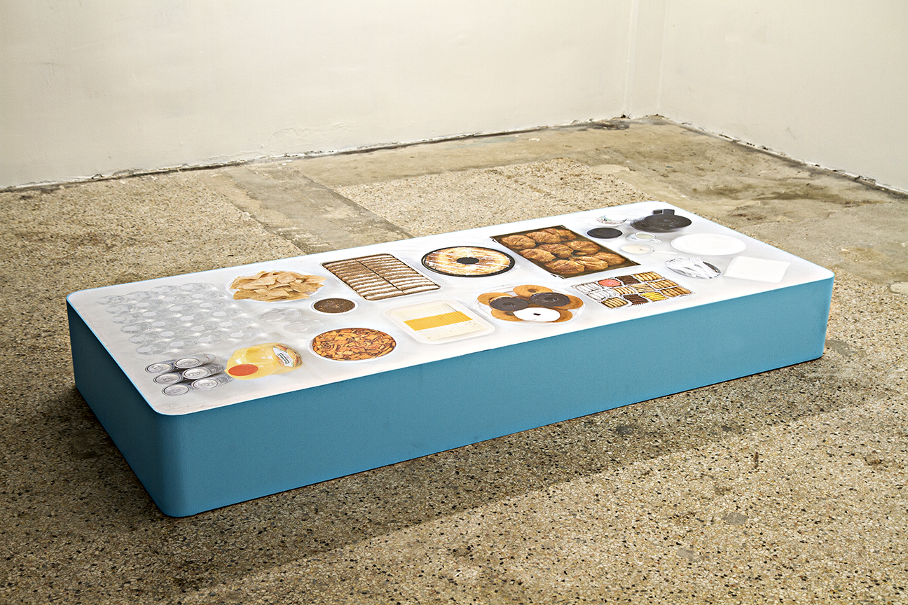 Refreshment Monument #1  2017 Floor decal vinyl, wood 10x72x30 inches  Town Hall  installation at ltd los angeles