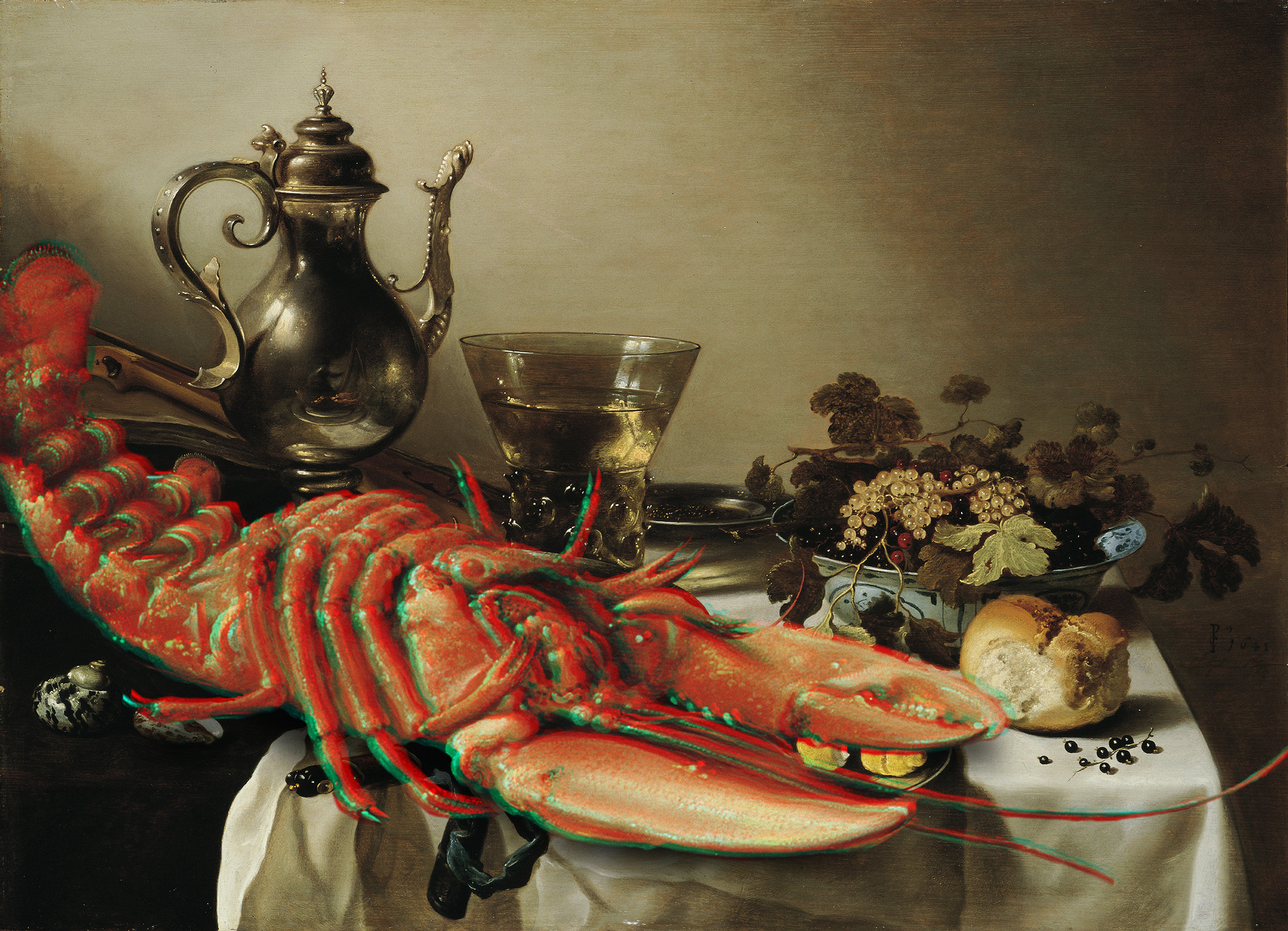Lobster Anaglyph #4 (Table with Lobster, Silver Jug, Fruit Bowl, Violin and Books, Pieter Claesz, 1641)  2017 3D anaglyph digital UV adhesive wall fabric, 3D anaglyph glasses 25.2 × 34.84 inches