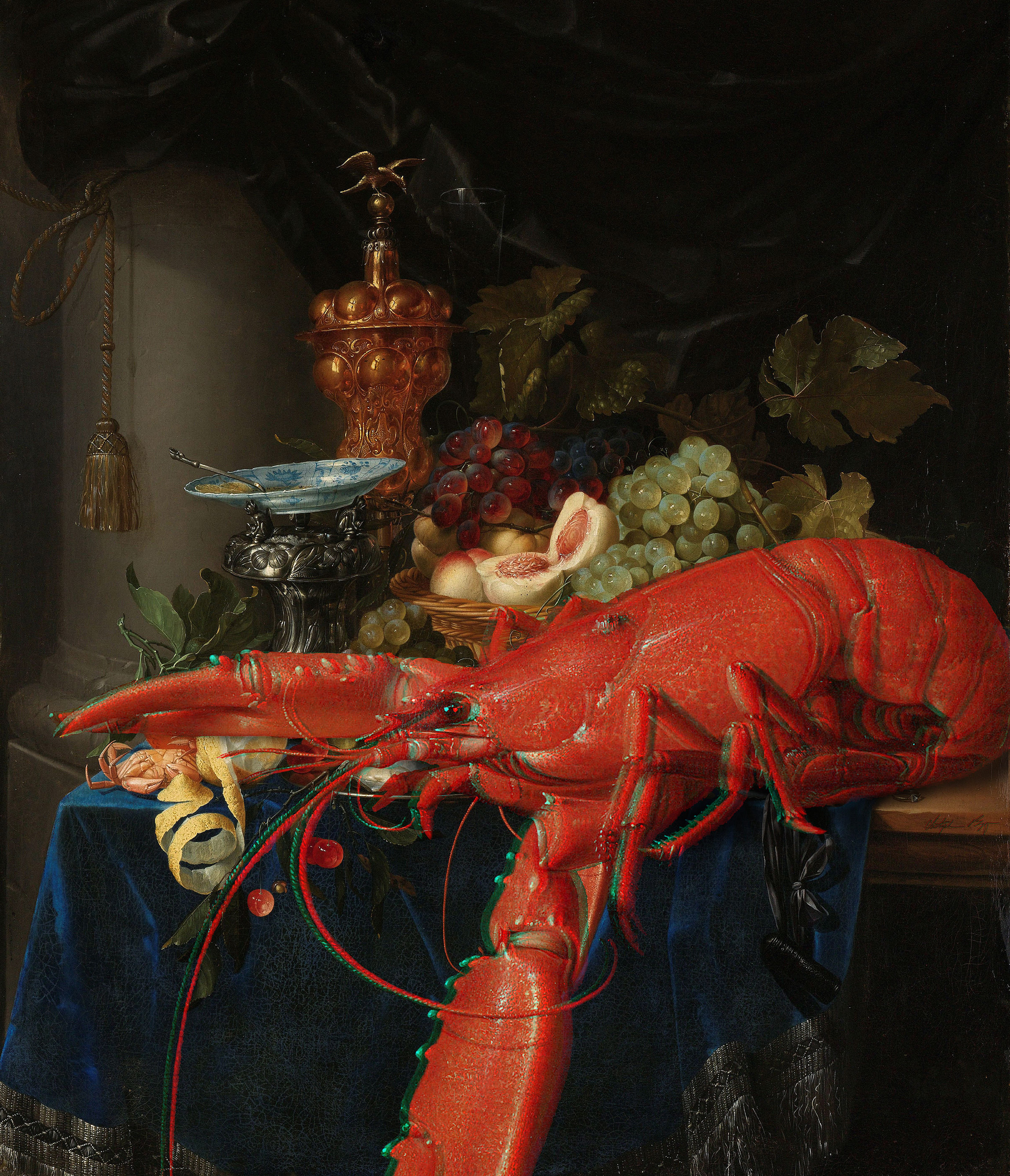 Lobster Anaglyph #5 (Still Life with Golden Goblet, Pieter de Ring, 1640-1660)  2017 3D anaglyph digital UV adhesive wall fabric, 3D anaglyph glasses LOBSTER 5: 39 x 33.5 inches