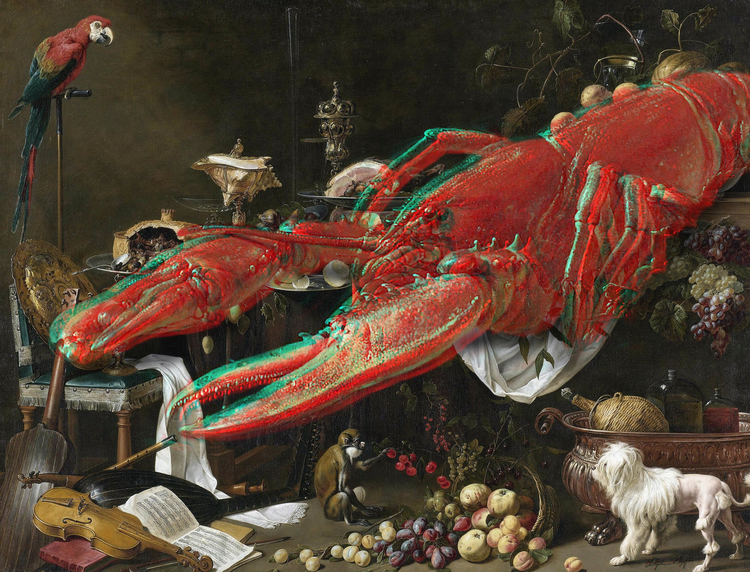 Lobster Anaglyph #1 (Banquet Still Life, Adriaen van Utrecht, 1644)  2017 3D anaglyph digital UV adhesive wall fabric, 3D anaglyph glasses 72.8 X 95.5 inches (small edition 36.4 x 47.75 inches)