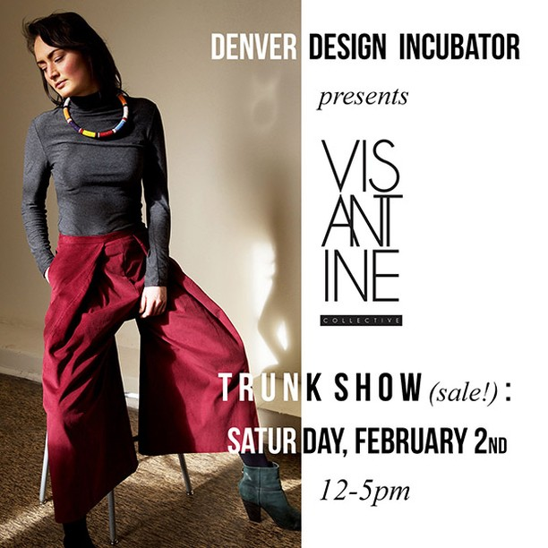 Hey Denver! Mark your calendars. I'll be hosting a Trunk Show at the @Denverdesignincubator on Saturday, February 2nd from 12-5pm. Come try on some VIS and sip some bubbly! . . . . . #denverdesignincubator #visantine_collective #ethicalfashion #slowfashion #fairtradefashion #denverfashion #trunkshowdenver #fallfashion #fallfashionsale #shopsmall #shoplocal #capsulewardrobe #greencloset #culottes #courduroy #bamboofiber #organicfibers #cocktaildress #dresswithpockets #indiedesigner #smallbatch #limitededition #lootd #ootd #meetthemaker #makersmovement #denver
