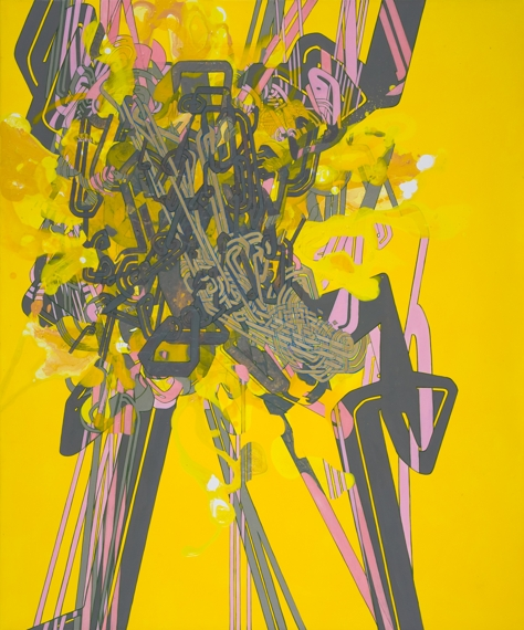 "'Pocket Universe', 37""x30"", acrylic on canvas"