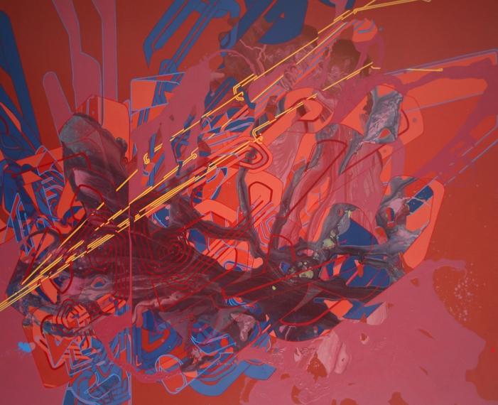 "'Subatomic Stitch', 72""x 60"", acrylic on canvas"