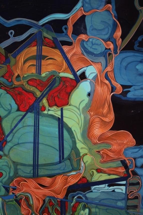 'Planck's Mechanical Gut-G.U.T.', 5'x4' (detail), acrylic on canvas, 2011.JPG