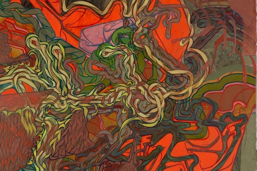 Promethean Coil (more detail), 54.5 x 48, India ink and acrylic on canvas.jpg