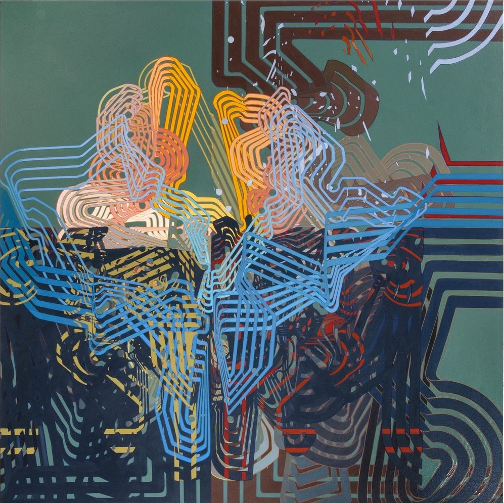 "'Quadrant', 60"" x 60"", acrylic on canvas"