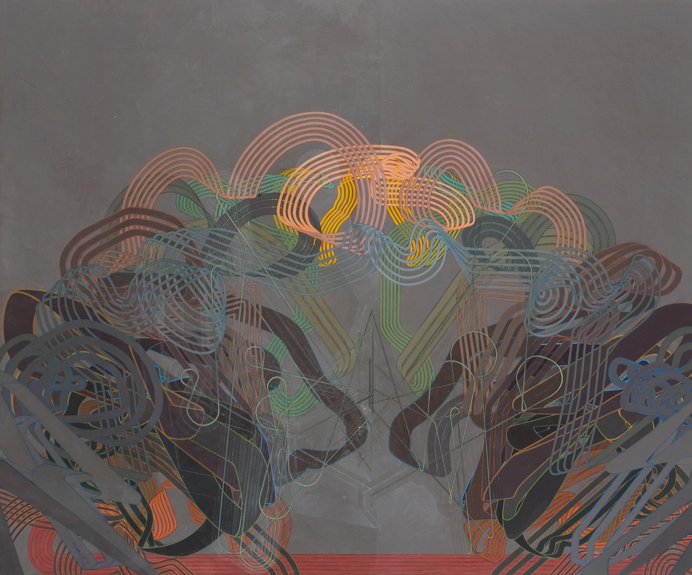 """'An Exploded View', 59"""" x 71"""", acrylic on canvas"""