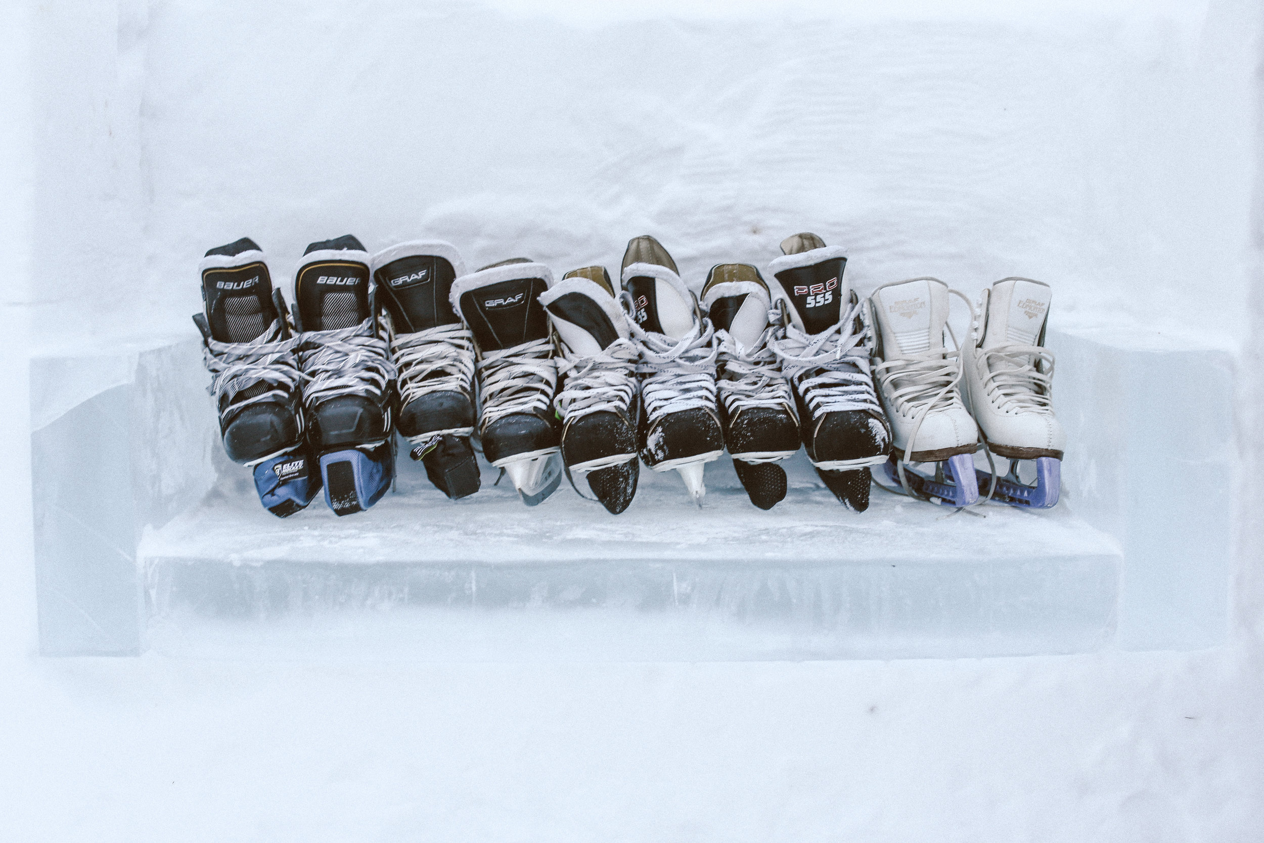 Our Skates lined up on an ice bench inside the Ice Bar.