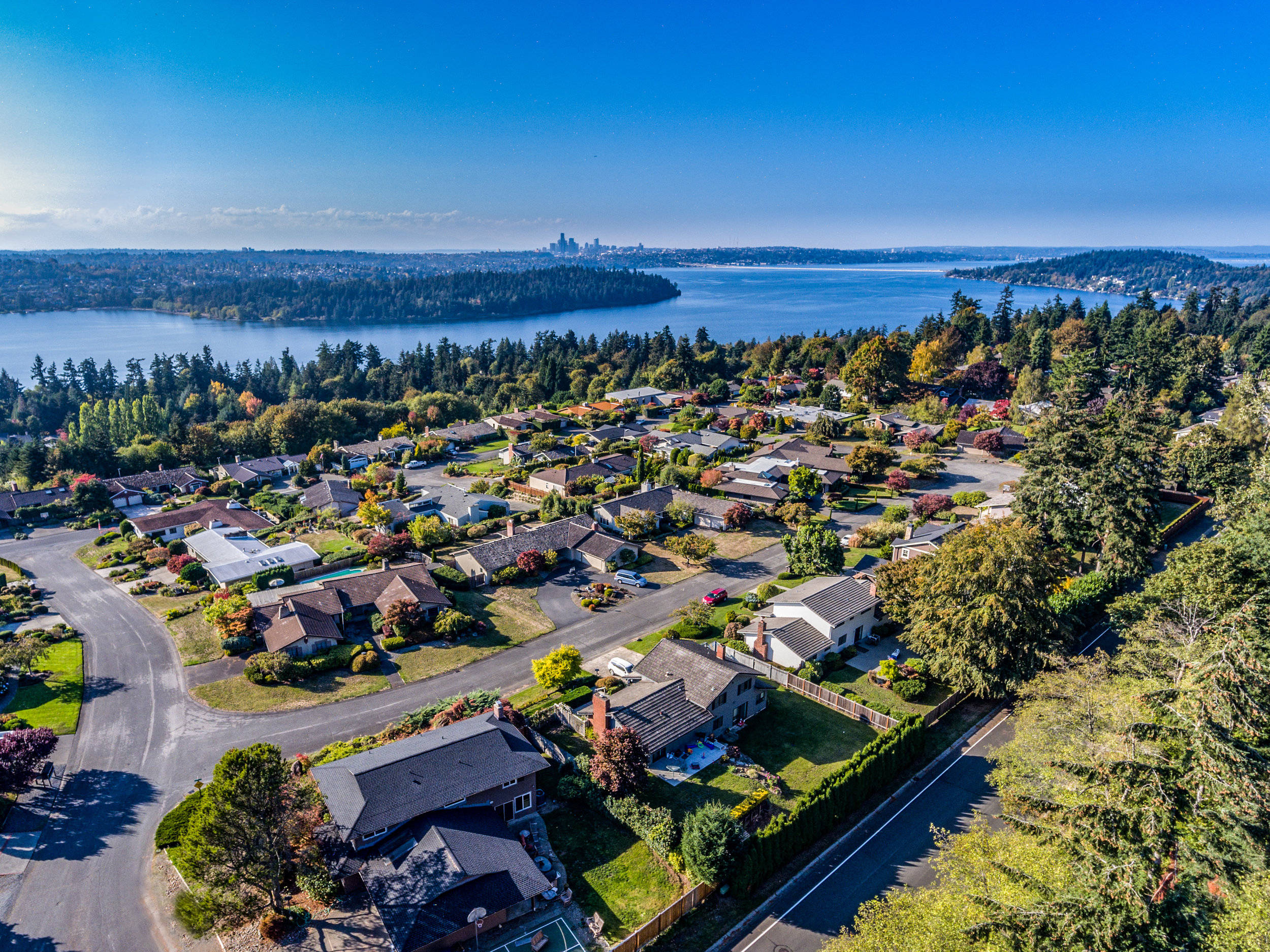 Wide angle drone images can help inform prospective buyers of the the surrounding neighborhood and area.