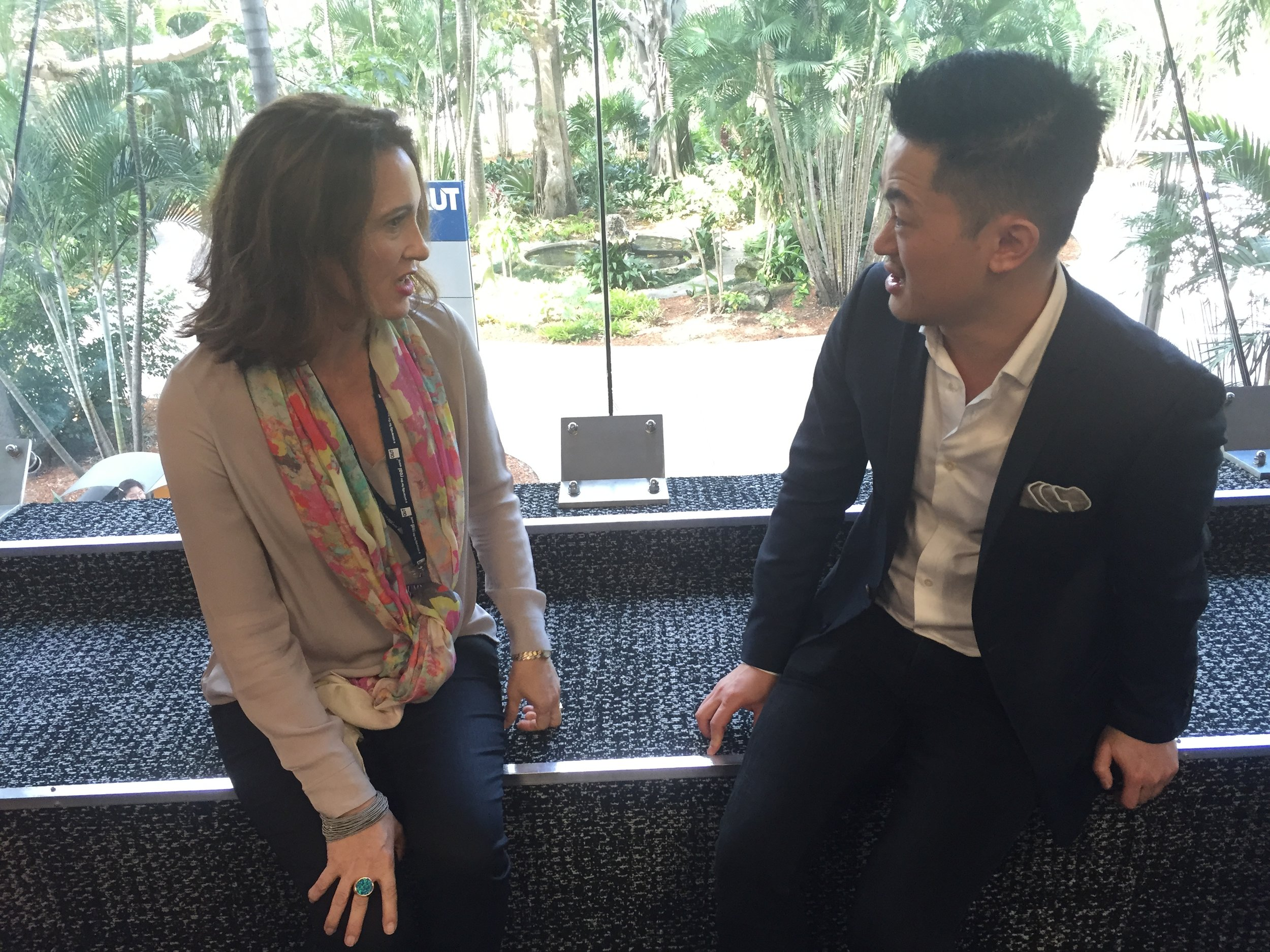 Benjamin Law and Sarah Ridout: Caption this? (See QUT logo near my head)