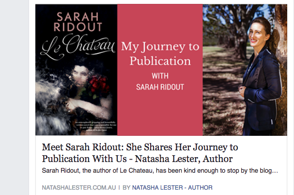Image of the interview with Natasha Lester, author of many books including 'Kiss from Mr Fitzgerald'. Please follow the link to read the full article.  http://www.natashalester.com.au/2016/11/02/meet-sarah-ridout-she-shares-her-journey-to-publication-with-us/