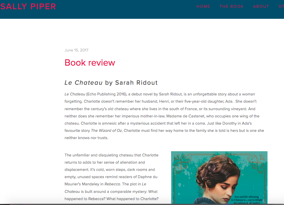 Read Sally Piper's full review here:  http://www.sallypiper.com/sallys-blog/