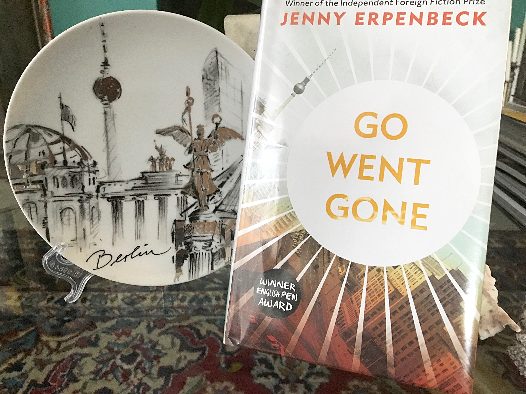 Go Went Gone cover design mirroring in many ways my KPM Berlin porcelain plate. Plate was  bought as a souvenir from KaDeWe while on a lovely Berlin holiday. The era was very different from that of the book.