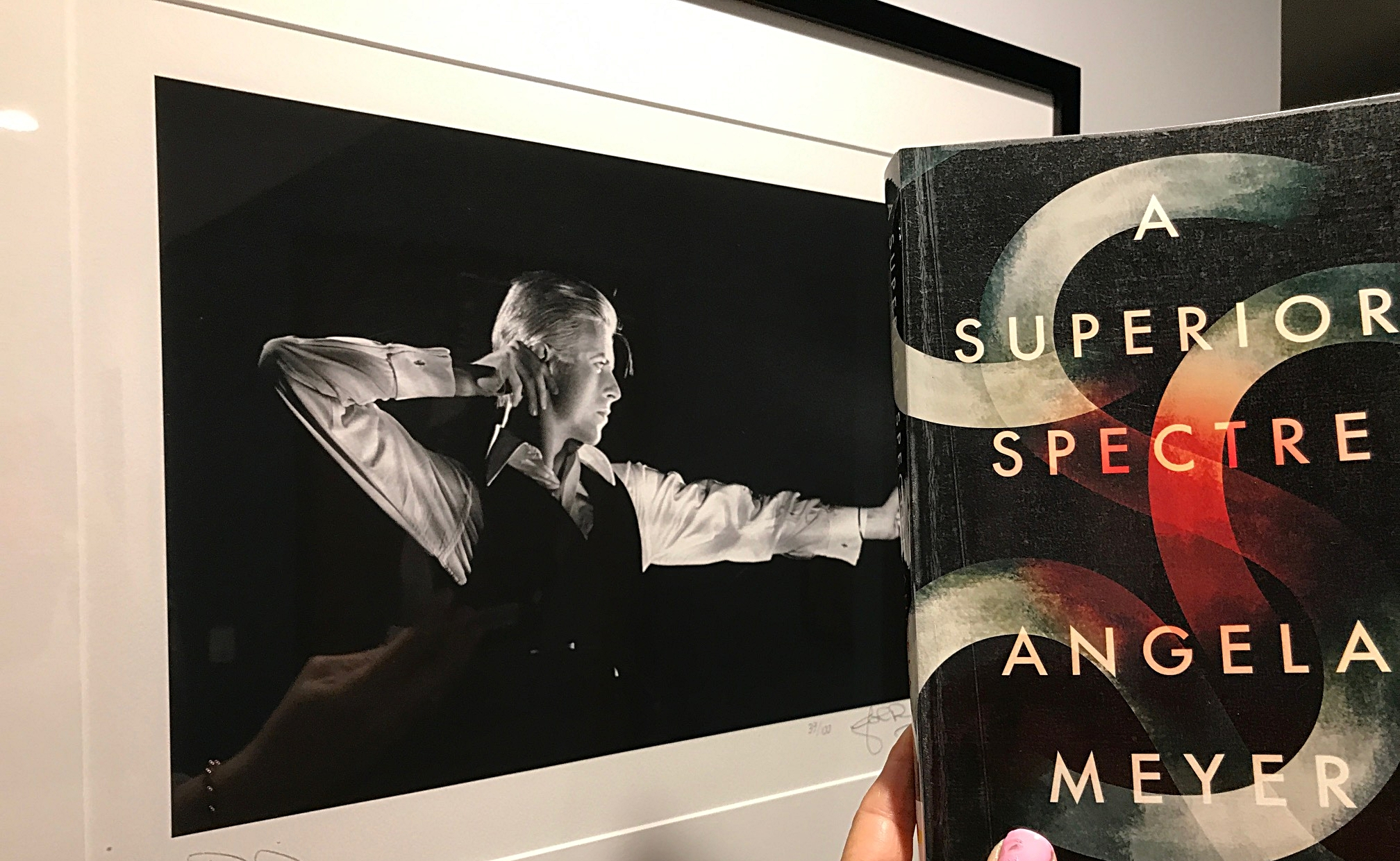 'A Superior Spectre' by Angela Meyer, snapped against my David Bowie 'The Archer' photo. The author and I are both Super Fans.