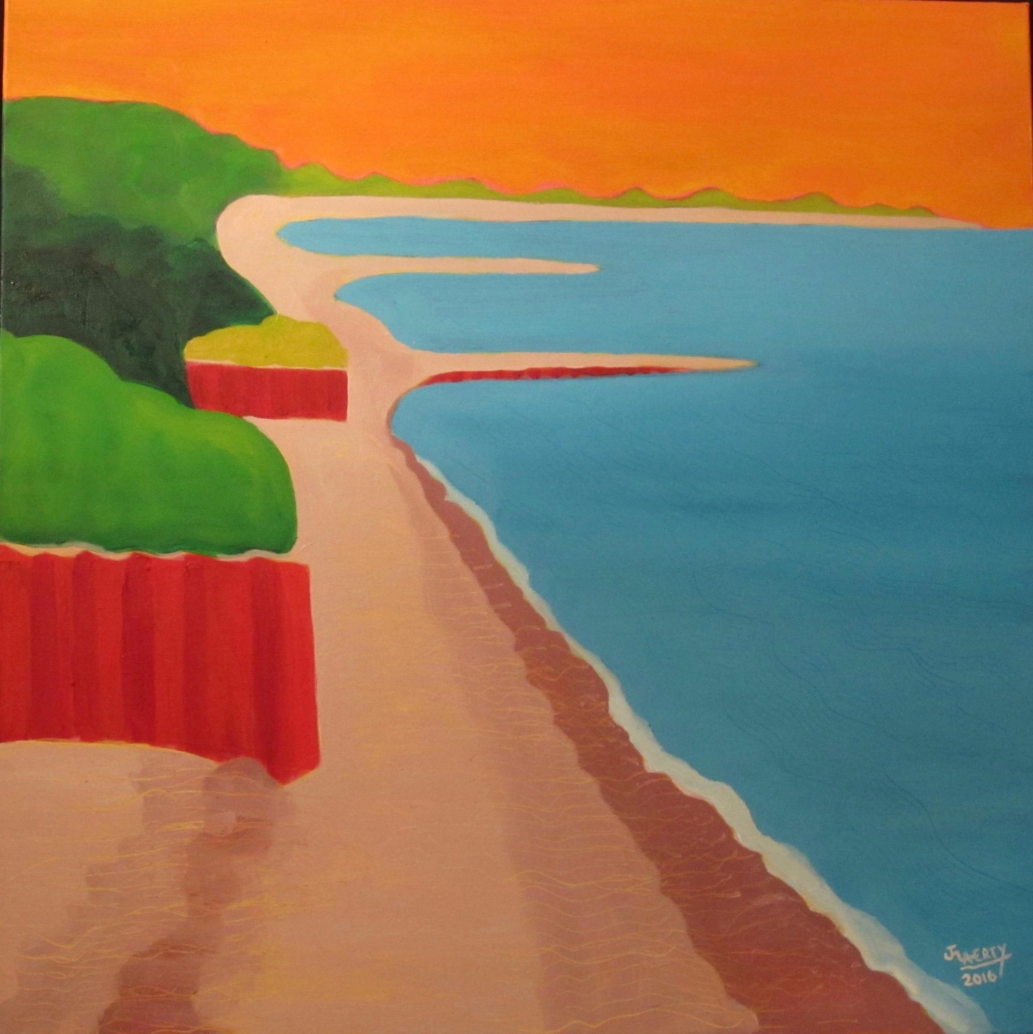 Red Seawalls Under Marmalade Sky - Oil on Canvas30 x 30Now residing in Portsmouth, NH with Allison