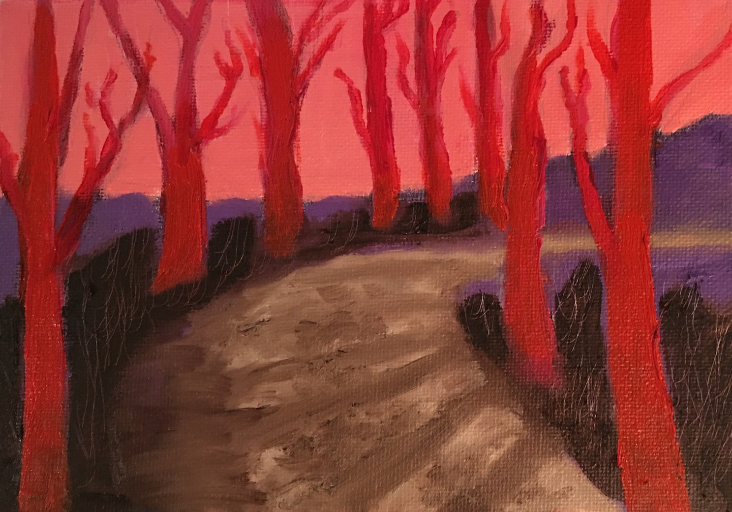 Study for Red Trees - Oil on Canvas Panel5 x 7Whereabouts unknown