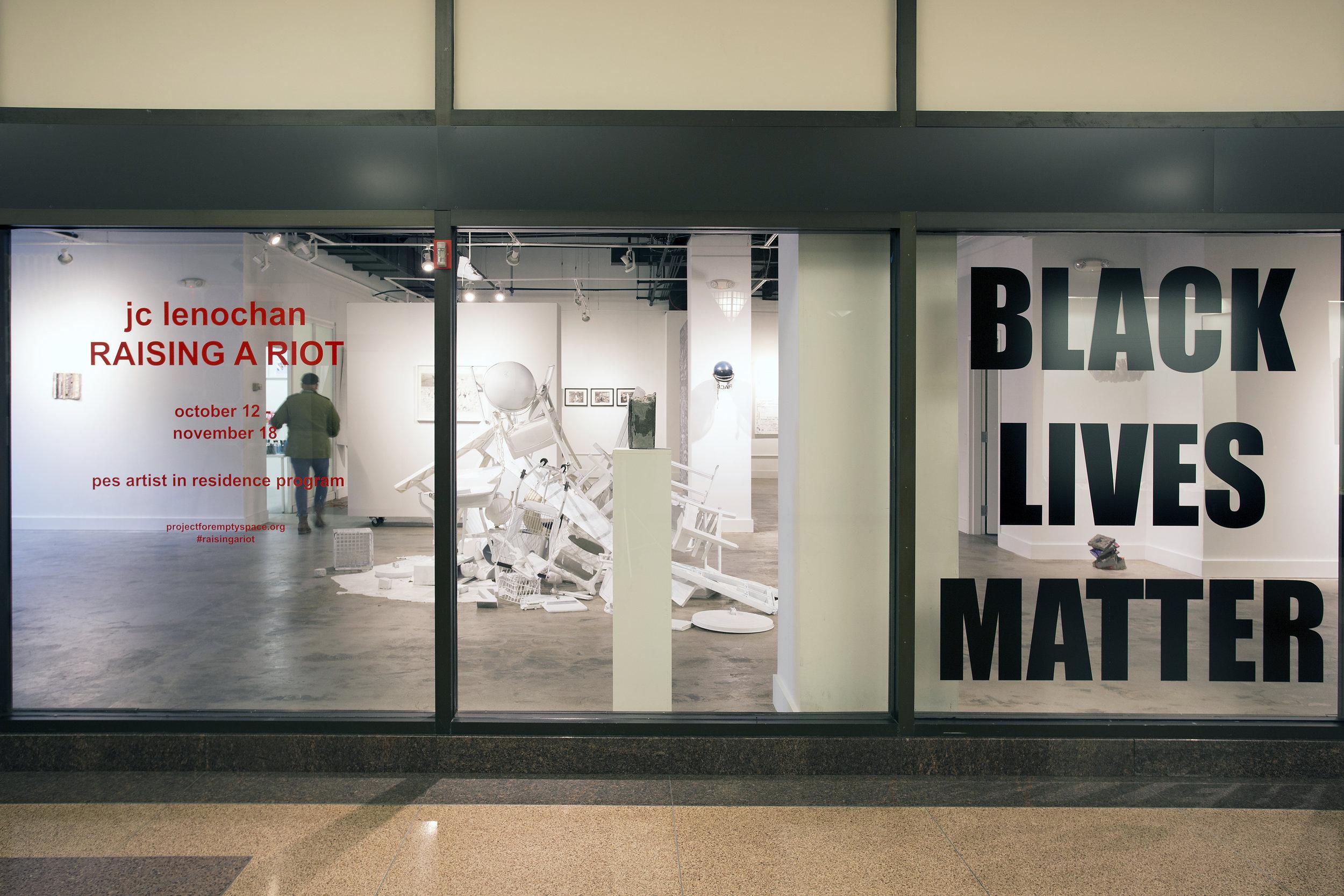 """Special Project:  Black Lives Matter  72"""" x 70""""vinyl installation Summer 2016"""