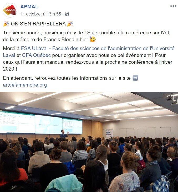 L'APMAL est  L' Association des Participants à la Maîtrise en administration de l' Université Laval . Le commentaire et la photo ont été publiés sur leur page Facebook le lendemain de ma conférence du 10 octobre 2019.