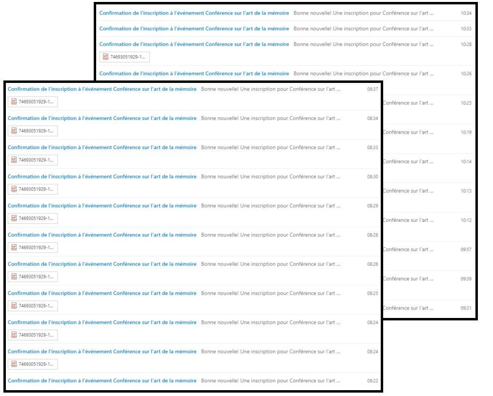 Deux captures d'écran de ma boîte de courriel le matin suivant le début des inscriptions pour ma conférence du 10 octobre 2019 à l'Université Laval. En arrière-plan on peut voir les inscriptions qui ont été faites entre 9h30 et 10h34. En avant-plan sont celles qui ont été faites entre 8h22 et 8h37. À midi on a dû cesser d'accepter les inscriptions. Si je me fie aux nombres de visites sur la page d'inscription, je pense qu'avec une salle plus grande qu'on aurait pû attirer plus de 400 étudiants.