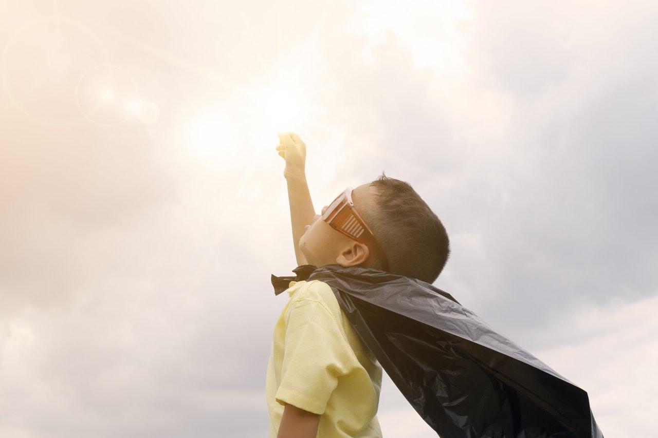 super kid in the clouds