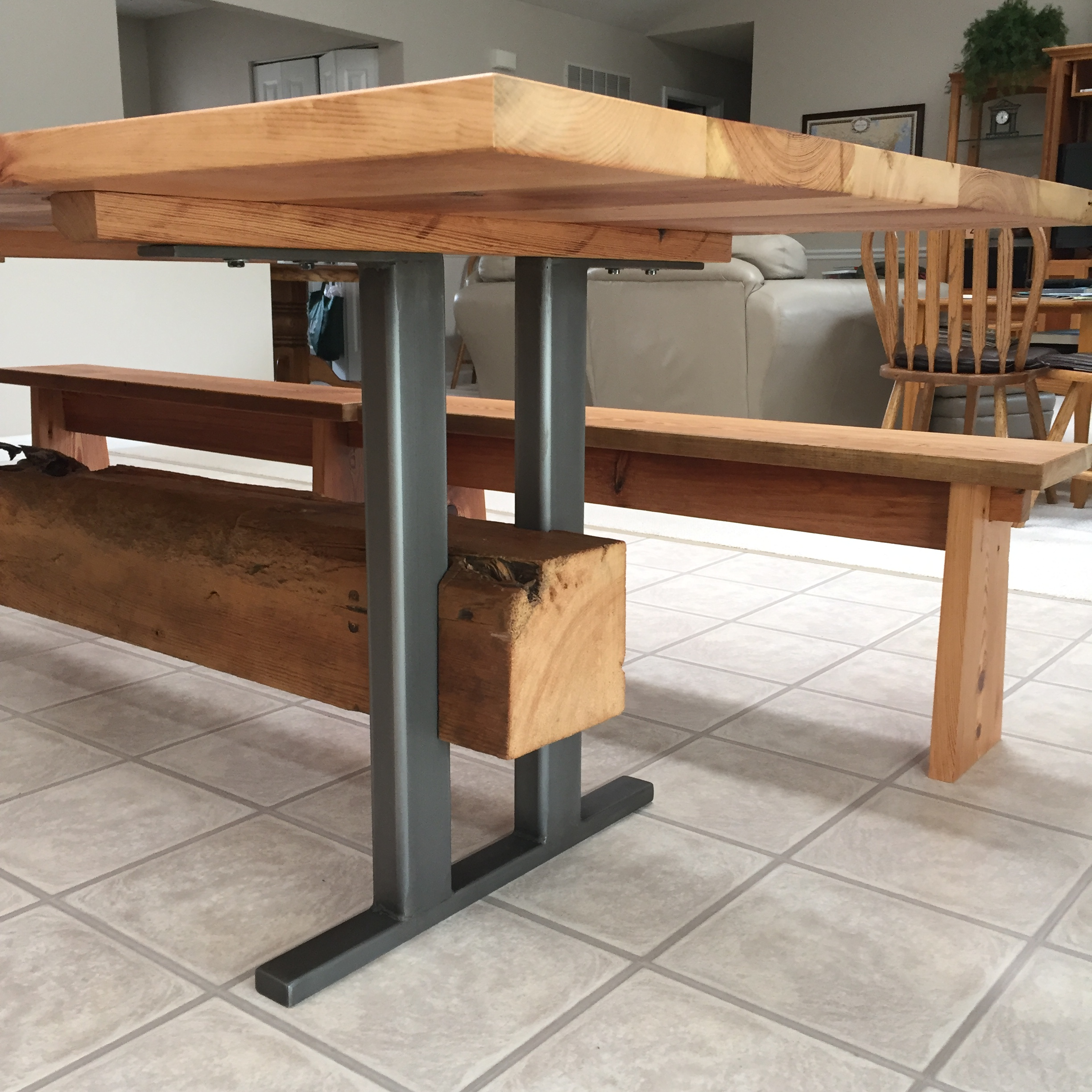 Beam Farm Table & Benches