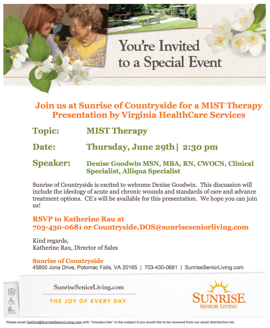 continuing education mist therapy flyer