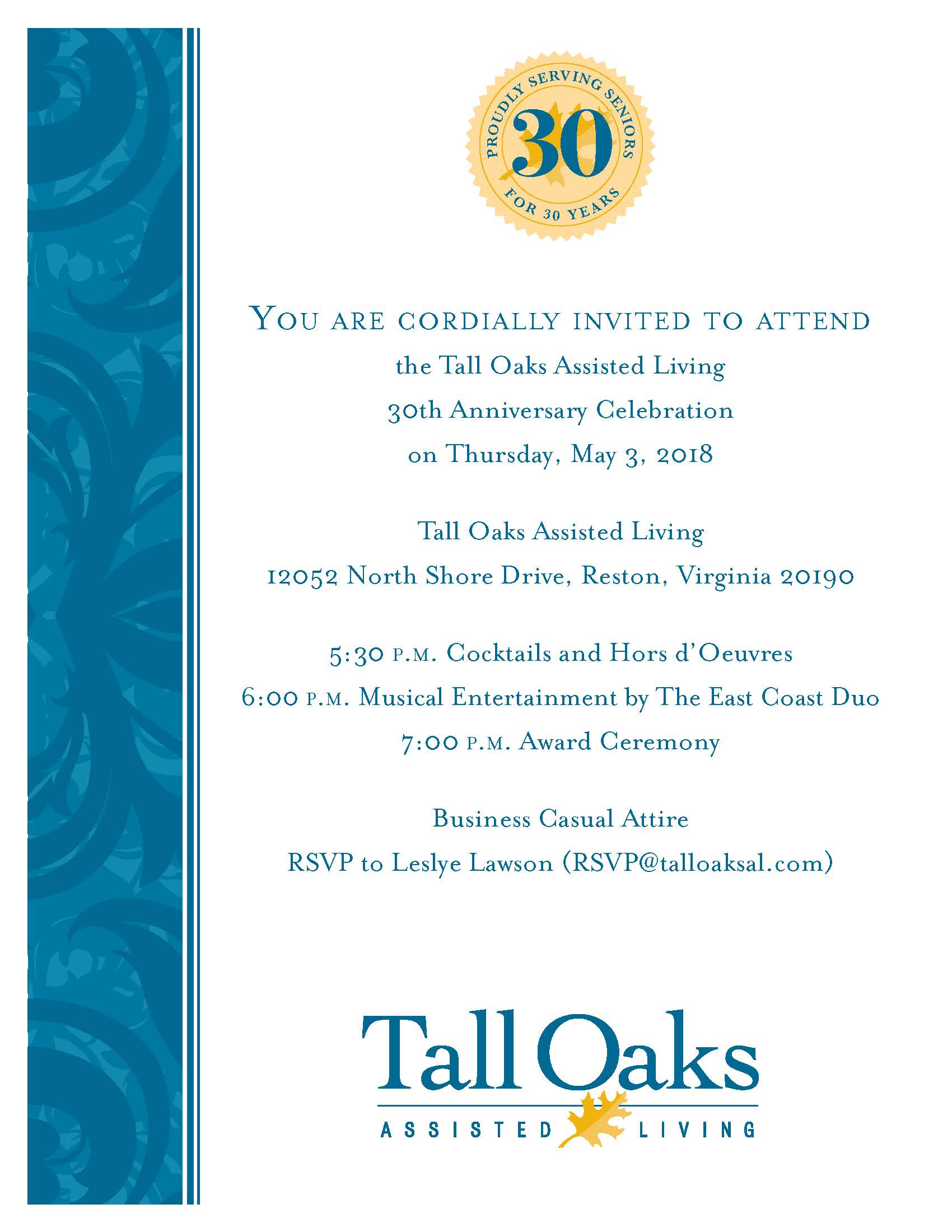 Tall Oaks Anniversary Invitation flyer