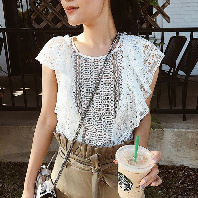 White Perforated Top is all you need for summer. And Iced Caramel Macchiato! 📸: @pdasilvaa