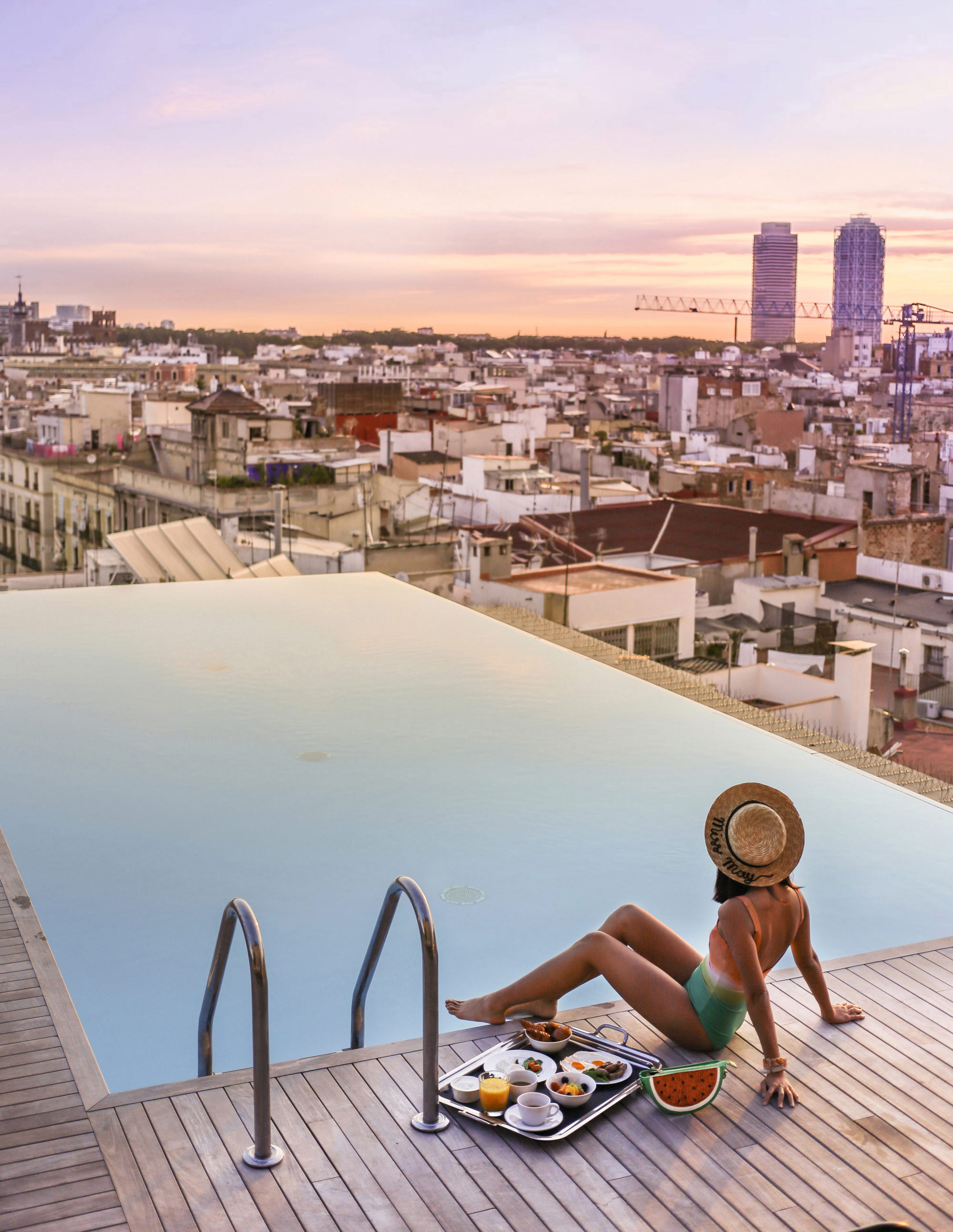 Honestly, the best roof top pool view of Barcelona. I could stay up here all day. Photo by Leon Korobacz of @hungrysydneysiders.