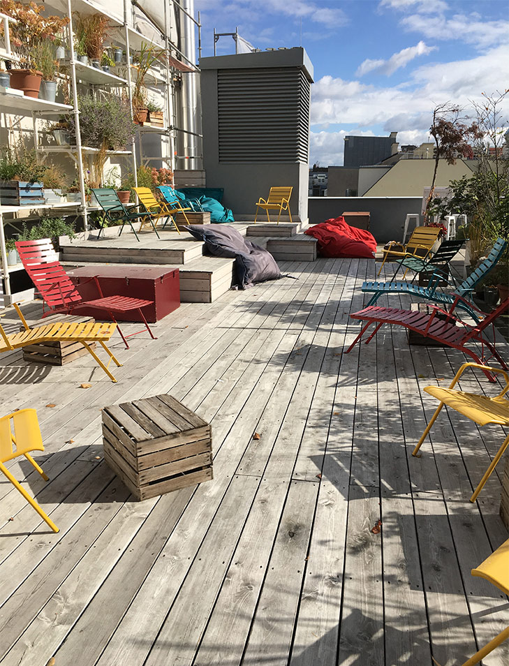 Fun roof top at Ruby Marie Hotel in Vienna. Photo by May Leong.