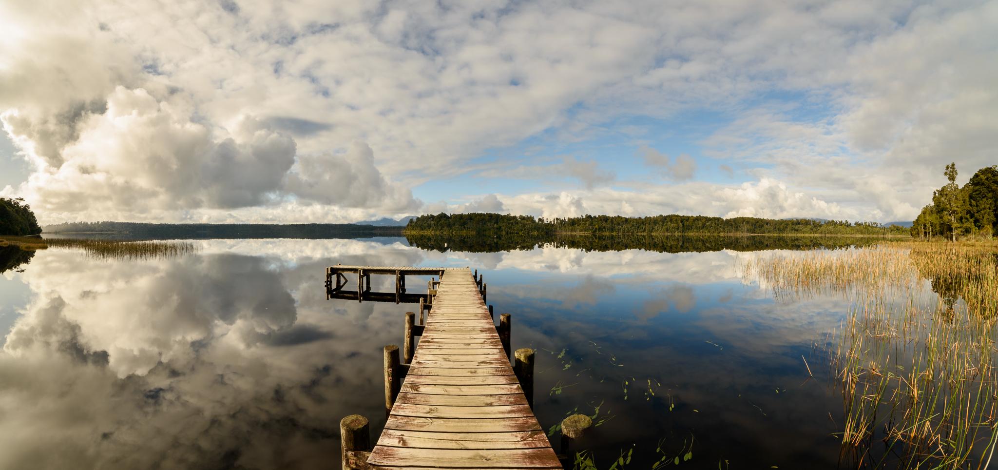 Lake Mahinapua, like a mirror