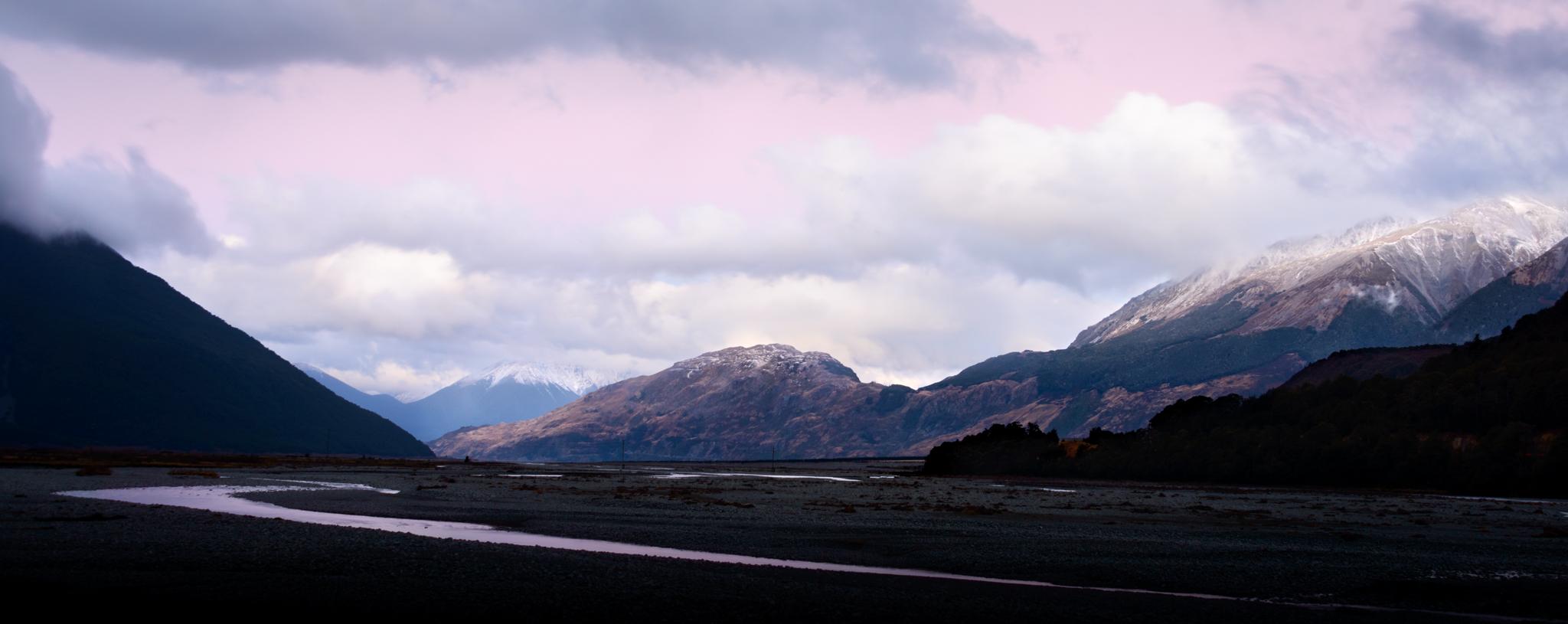 """Horrible Pink""  Waimakariri River and Mt Horrible, Arthurs Pass National Park, New Zealand  D800, ISO100, f8, 4sec, 36mm, Lee Little Stopper ND Filter"