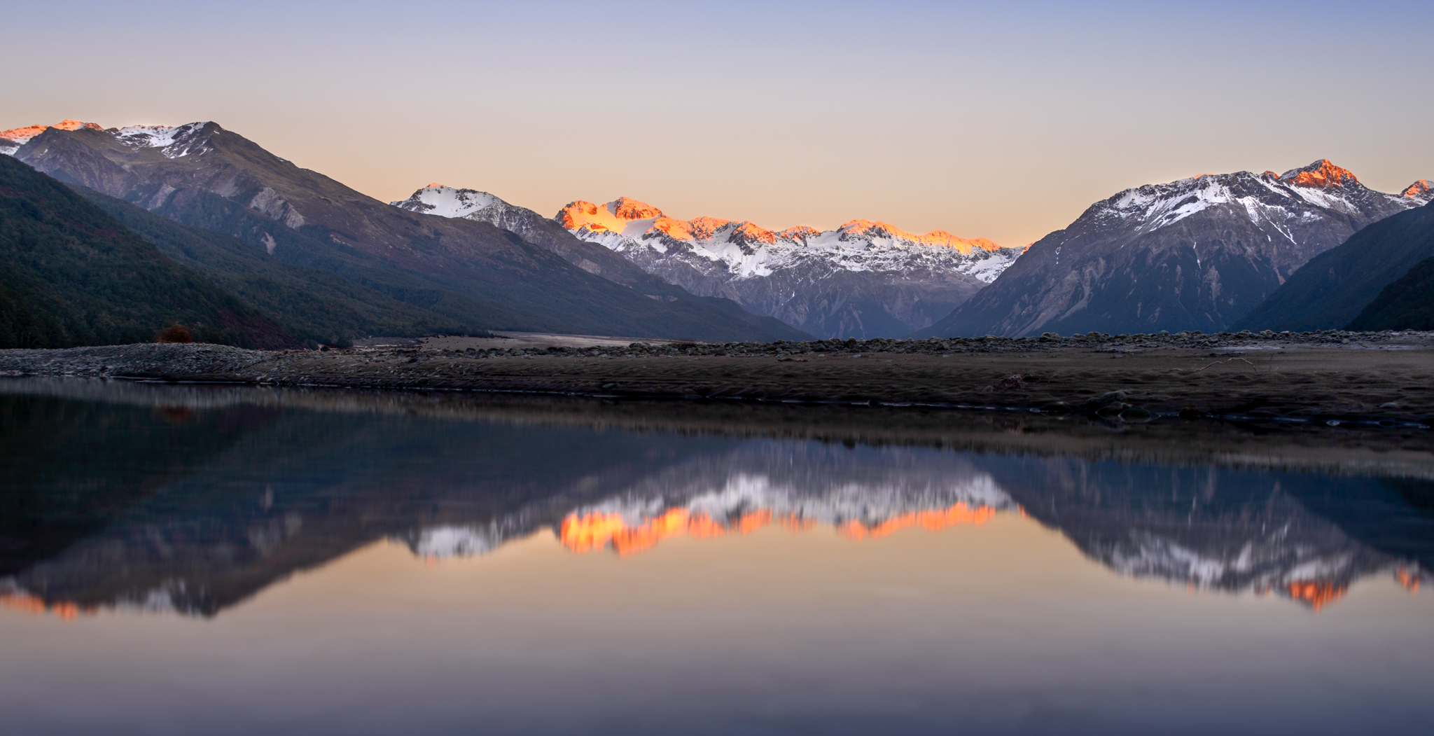 """""""There's a place I go""""  Mt Harper, Mt Davie and Mt Stewart lit by the coming dawn, Waimakariri River valley, Arthurs Park National Park, New Zealand  D800, ISO100, f8, 2.5sec, 38mm, Lee Litle Stopper ND Filter"""