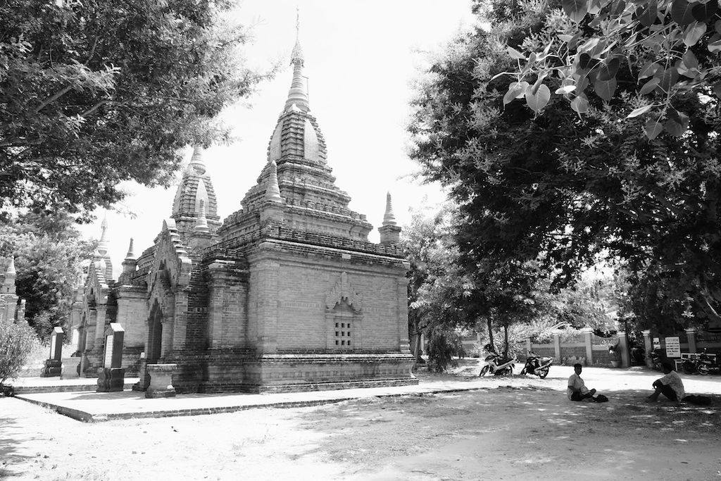 Temples and a shady tree, New Bagan
